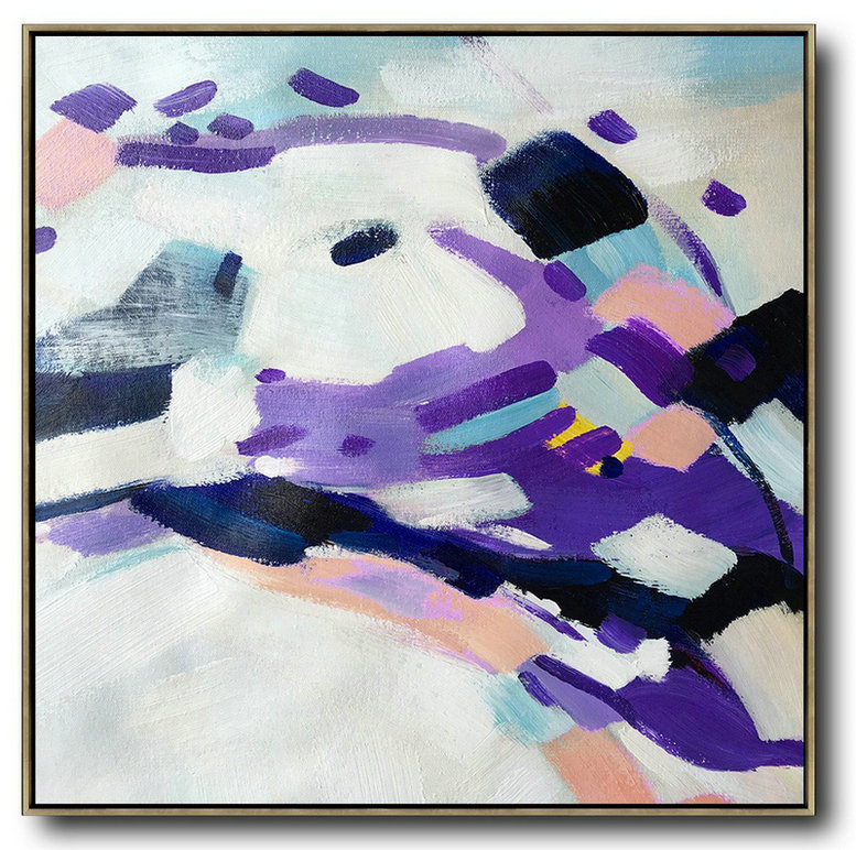 Oversized Contemporary Art,Wall Art Ideas For Living Room White,Purple,Pink,Black