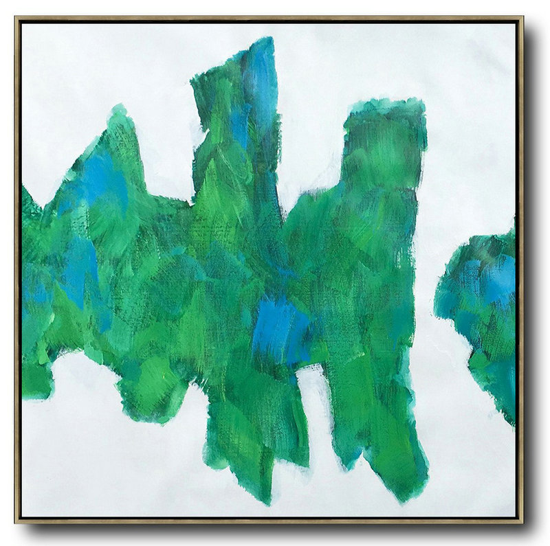 Oversized Contemporary Art,Large Wall Art Canvas White,Blue,Green