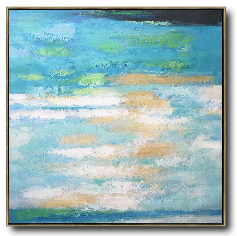 Oversized Contemporary Art,Abstract Art Decor,Contemporary Painting White,Blue,Green,Yellow