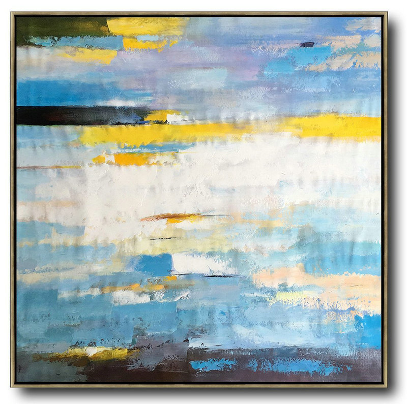 Oversized Contemporary Art,Modern Art Abstract Painting White,Blue,Yellow