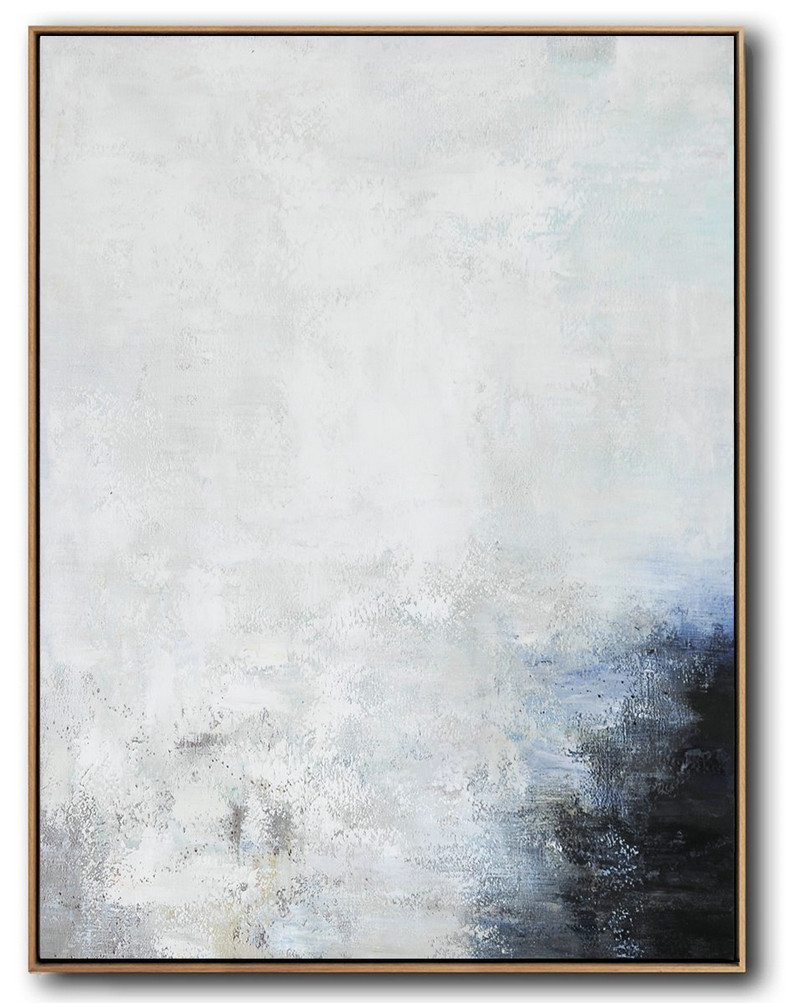 Vertical Vertical Abstract Art On Canvas,Large Oil Canvas Art Grey,White,Black,Blue