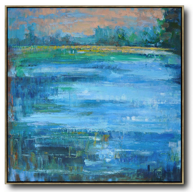 Oversized Abstract Landscape Oil Painting,Extra Large Wall Art Blue,Green,Yellow,Nude