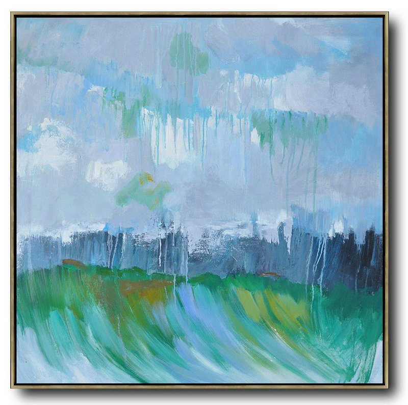Oversized Abstract Landscape Oil Painting,Hand Paint Large Art Gray,Green,Dark Blue