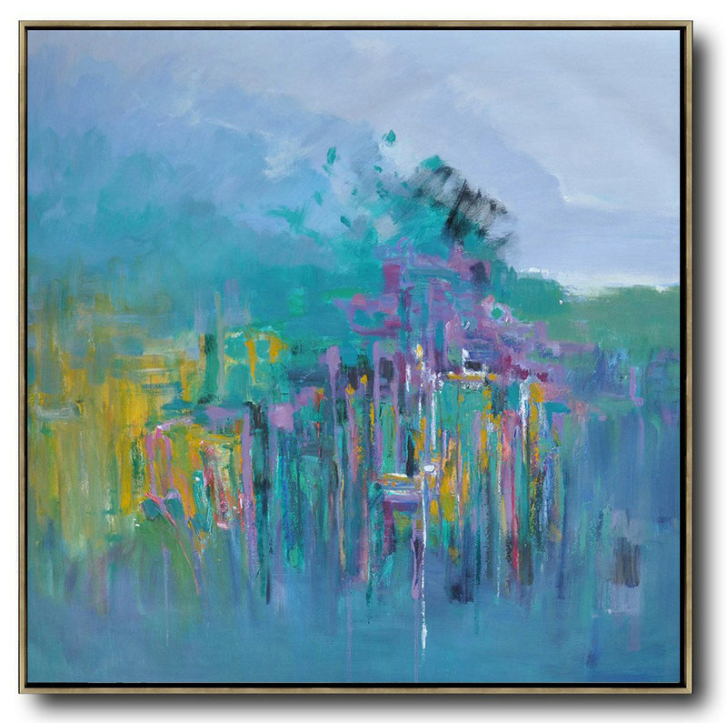 Oversized Abstract Landscape Oil Painting,Original Art Blue,Green,Yellow,Purple