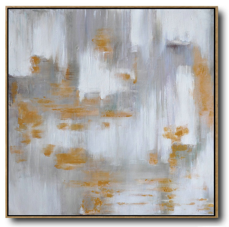 Large Abstract Landscape Oil Painting On Canvas,Original Abstract Painting Canvas Art Glod,White,Grey