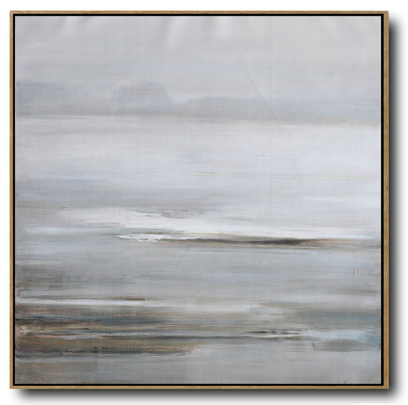 Large Abstract Landscape Oil Painting On Canvas,Hand-Painted Canvas Art Gray,White,Yellow