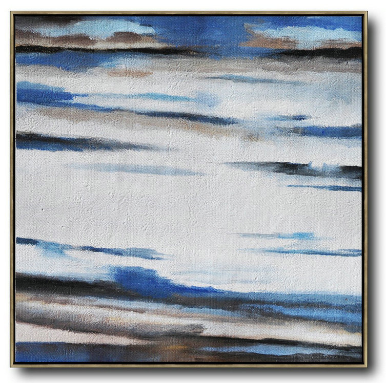 Oversized Abstract Landscape Painting,Modern Canvas Art White,Blue,Brown