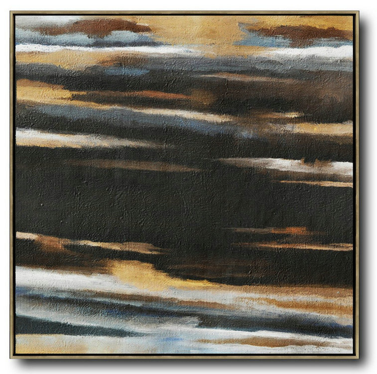 Oversized Abstract Landscape Painting,Huge Abstract Canvas Art Yellow,Black,White