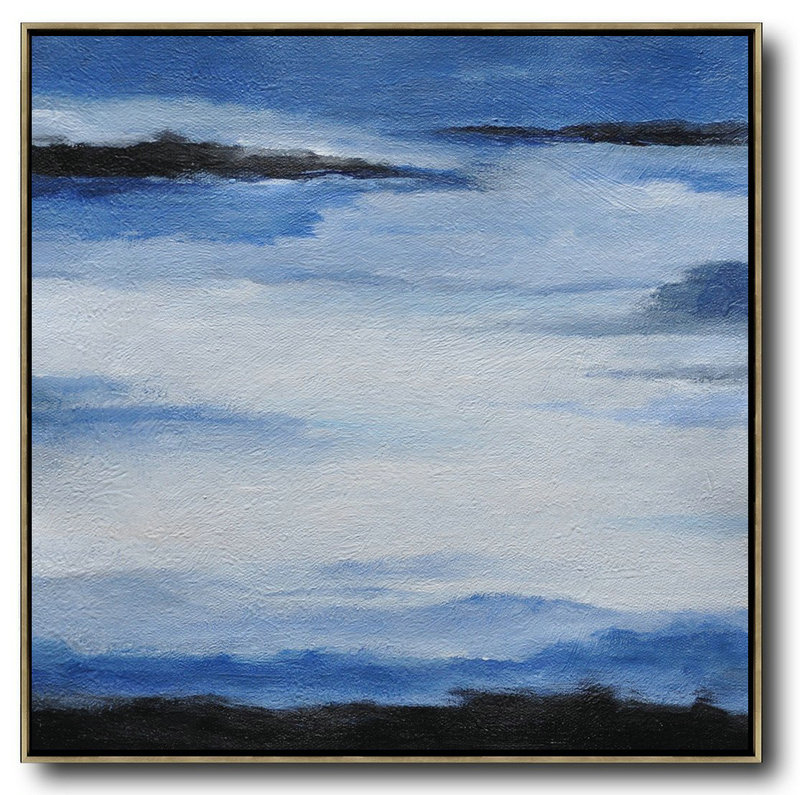 Oversized Abstract Landscape Painting,Modern Paintings Black,Blue,White