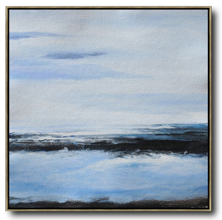 Oversized Abstract Landscape Painting,Contemporary Art Acrylic Painting White,Blue,Black