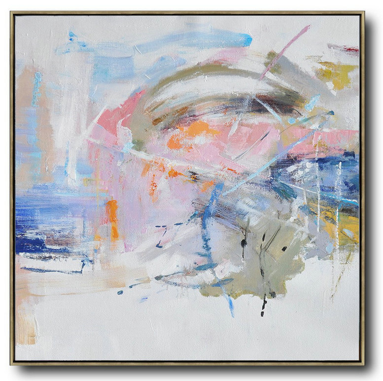 Oversized Abstract Oil Painting,Modern Art Abstract Painting White,Pink,Blue,Gray