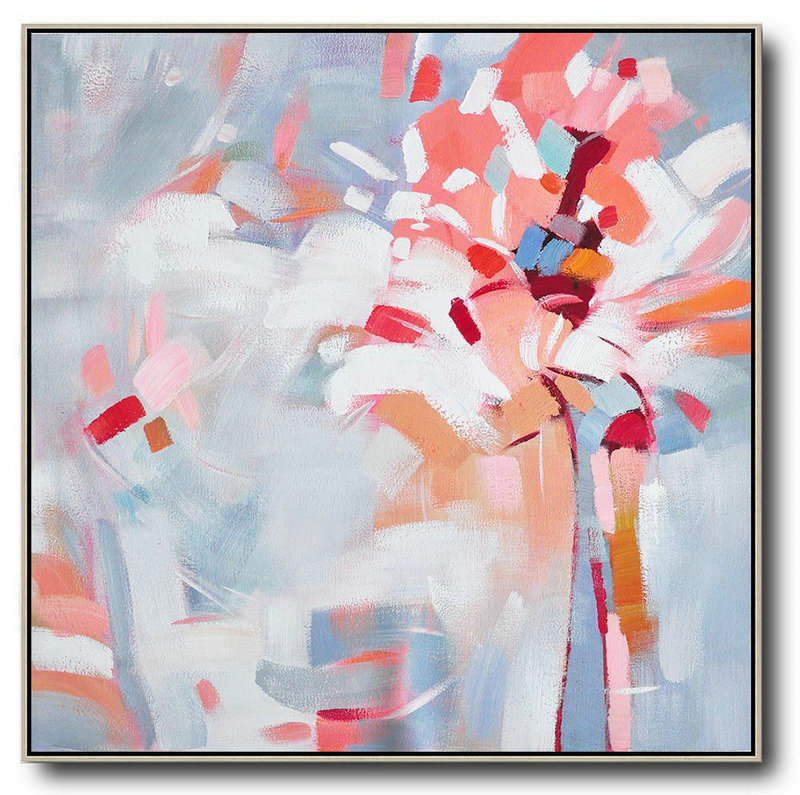Oversized Abstract Flower Painting,Large Living Room Wall Decor Pink,White,Gray