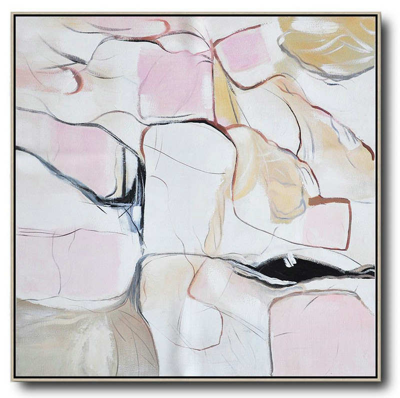 Oversized Abstract Painting,Wall Art Painting White,Pink,Yellow,Gray