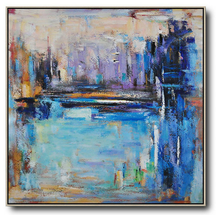 Oversized Abstract Landscape Painting,Canvas Paintings For Sale Purple,Blue,Yellow