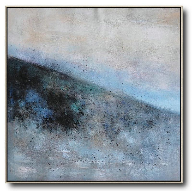 Oversized Abstract Landscape Painting,Colorful Wall Art Gray,Blue,Black