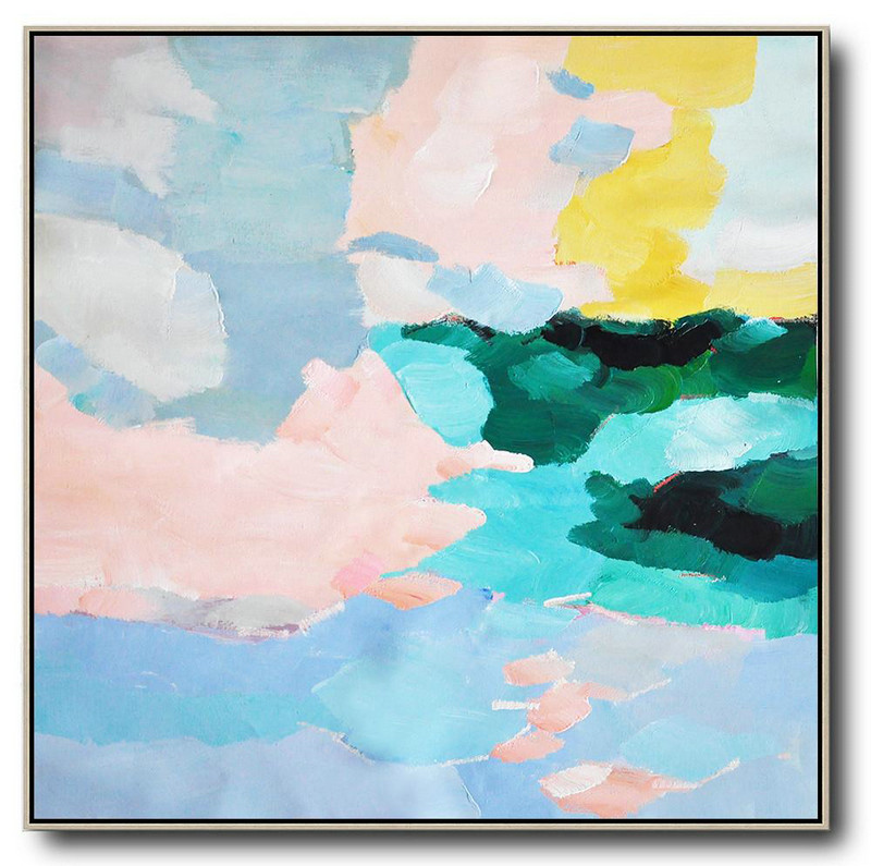 Oversized Abstract Art,Canvas Wall Paintings Blue,Green,Pink,Yellow