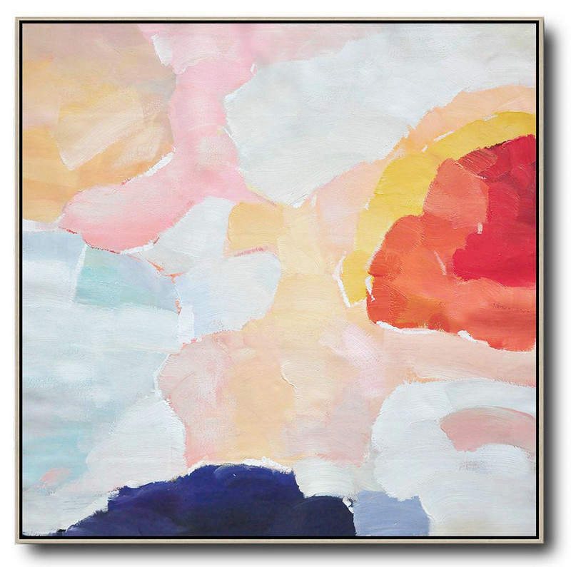 Oversized Abstract Art,Large Oil Canvas Art Red,White,Pink,Blue