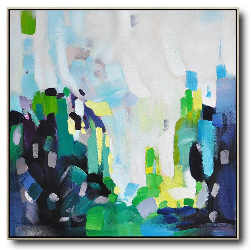 Oversized Abstract Art,Large Wall Art Home Decor White,Green,Black,Yellow