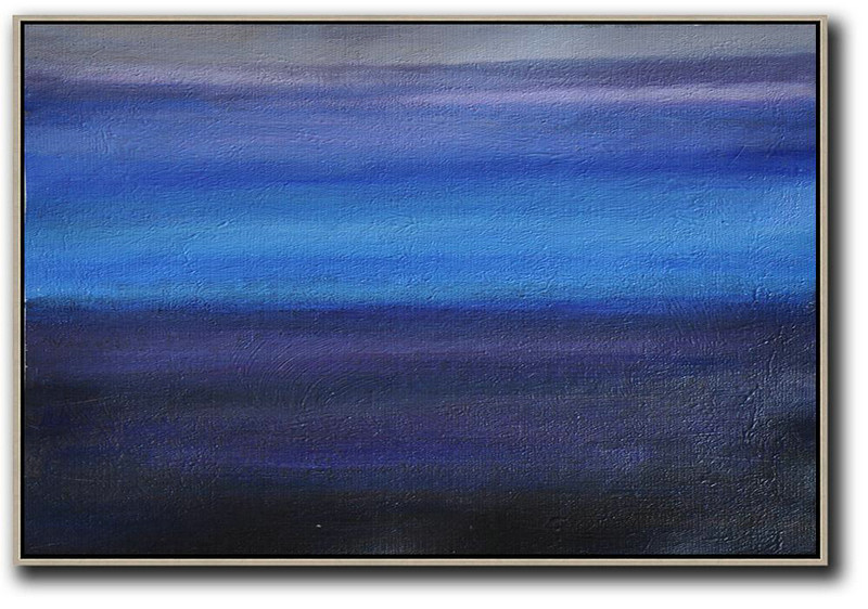 Horizontal Palette Knife Contemporary Art,Large Contemporary Art Canvas Painting Grey,Blue,Purple,Black