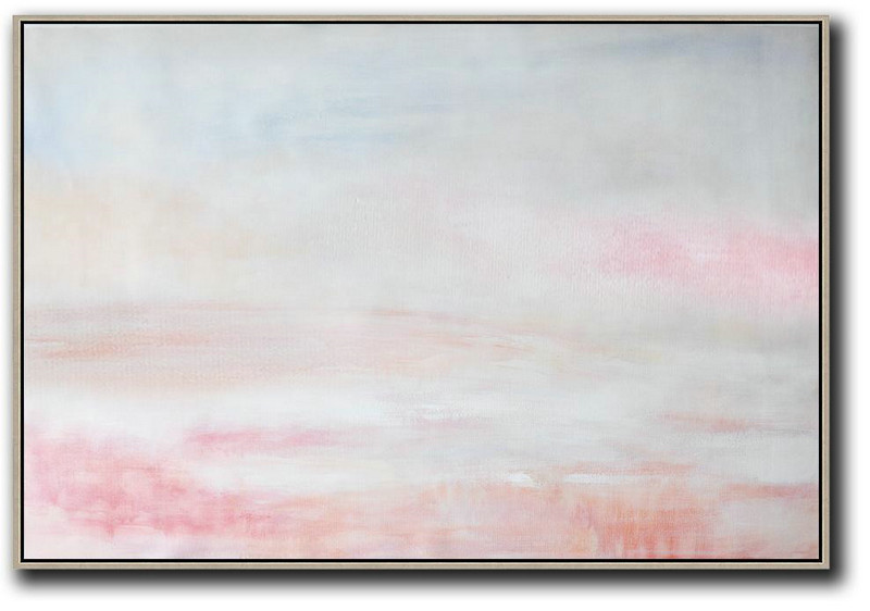Oversized Horizontal Abstract Art,Pop Art Canvas Grey,Pink,White