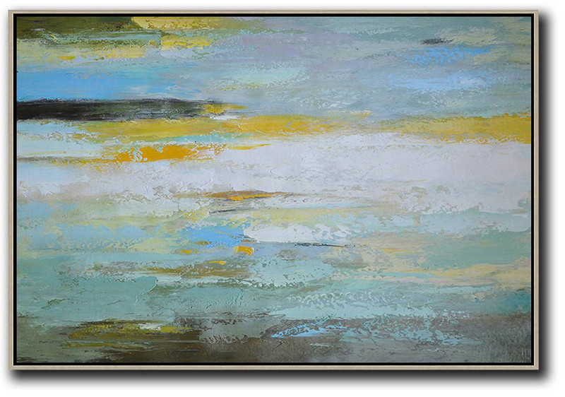 Oversized Horizontal Contemporary Art,Modern Wall Decor White,Yellow,Grey,Green
