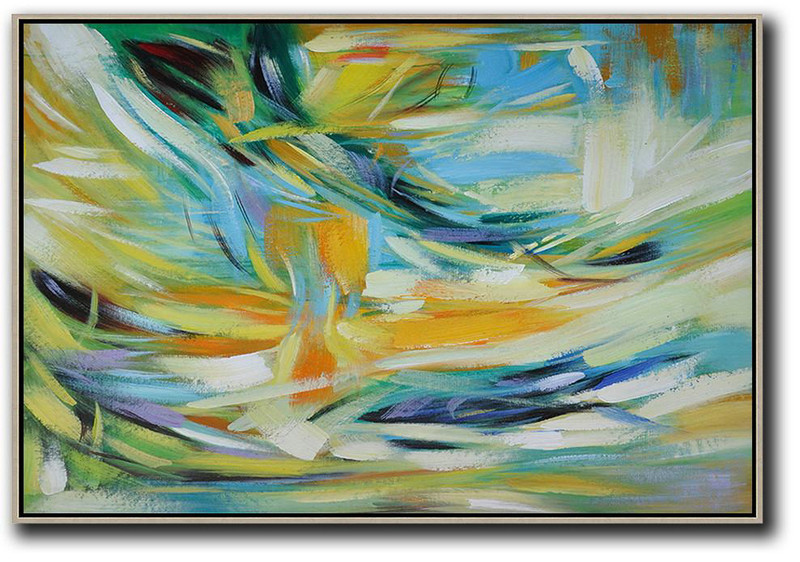 Oversized Horizontal Contemporary Art,Extra Large Paintings Yellow,Light Blue,Green,White