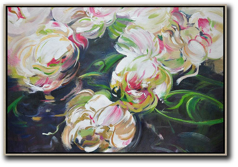 Horizontal Abstract Flower Oil Painting,Abstract Art On Canvas, Modern Art White,Green,Black
