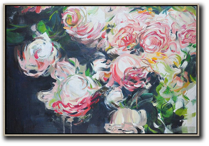 Horizontal Abstract Flower Oil Painting,Large Canvas Wall Art For Sale Red,White,Black,Green