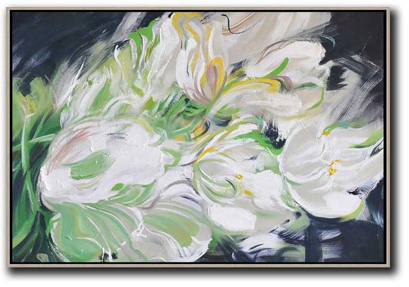 Horizontal Abstract Flower Oil Painting,Large Paintings For Living Room White,Light Green,Grey,Black