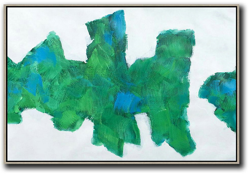 Horizontal Abstract Landscape Art,Modern Abstract Wall Art White,Green,Blue