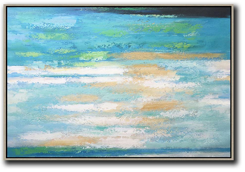 Oversized Horizontal Abstract Landscape Art,Original Art Acrylic Painting Blue,Earthy Yellow,White