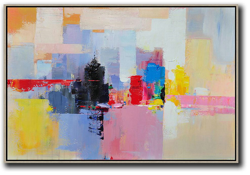 Horizontal Abstract Landscape Art,Unique Canvas Art White,Pink,Yellow,Black,Red