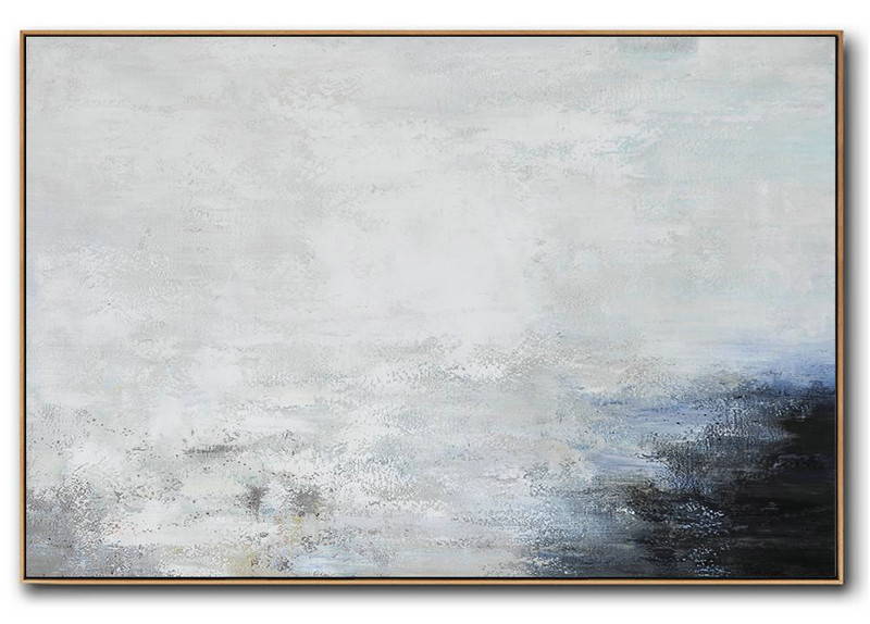 Hand Painted Oversized Horizontal Abstract Landscape Art On Canvas,Giant Canvas Wall Art White,Grey,Black