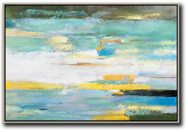 Oversized Horizontal Abstract Landscape Art,Acrylic Painting On Canvas White,Yellow,Light Green