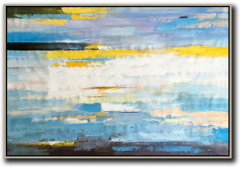 Horizontal Abstract Landscape Art,Large Canvas Art,Modern Art Abstract Painting White,Yellow,Blue,Purple,Black