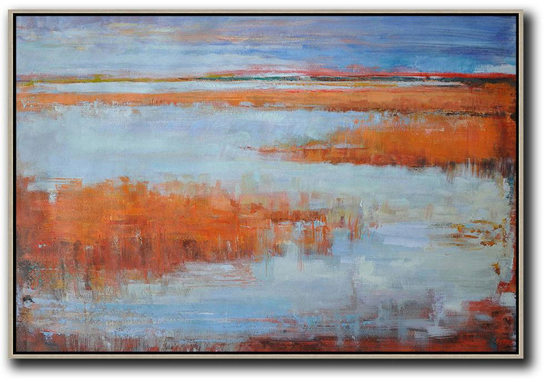 Horizontal Abstract Landscape Oil Painting On Canvas,Acrylic Painting Wall Art Blue,Orange,Grey,Red