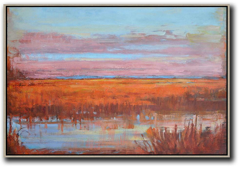 Horizontal Abstract Landscape Oil Painting On Canvas,Hand Made Original Art Sky Blue,Pink,Orange,Red