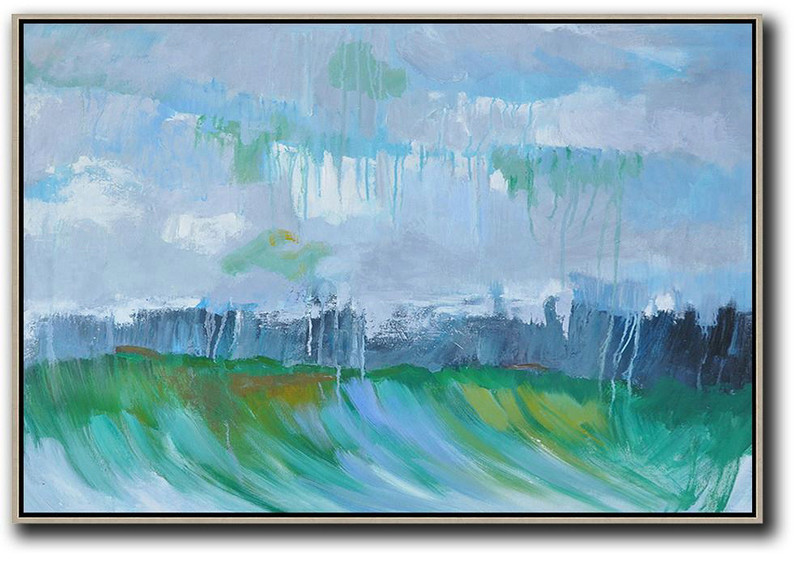 Horizontal Abstract Landscape Oil Painting On Canvas,Original Abstract Painting Canvas Art Grey,Dark Blue,Green