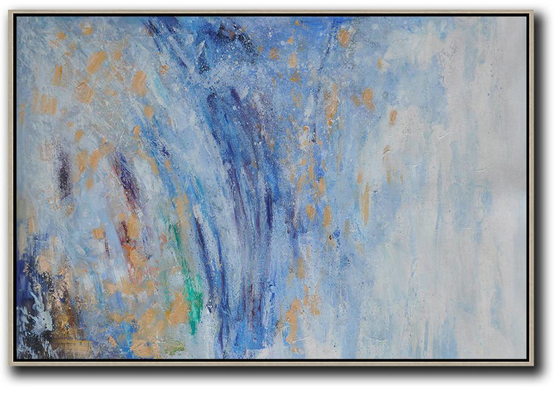 Horizontal Abstract Landscape Oil Painting On Canvas,Original Art Acrylic Painting Blue,White,Yellow