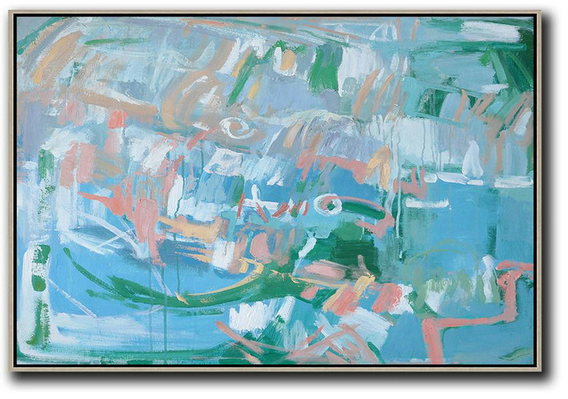 Hand Painted Horizontal Abstract Oil Painting On Canvas,Hand-Painted Canvas Art Blue,Green,Pink