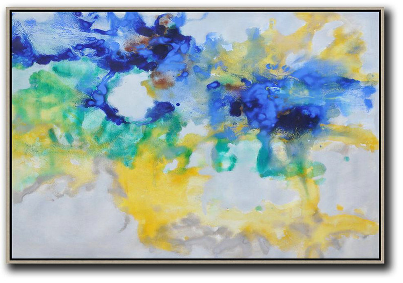 Hand Painted Horizontal Abstract Oil Painting On Canvas,Original Abstract Painting Canvas Art Blue,Yellow,Green,Grey