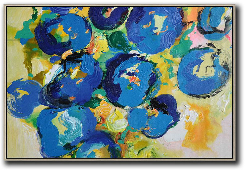 Horizontal Palette Knife Contemporary Art,Acrylic Painting Wall Art Yellow,Blue,Green