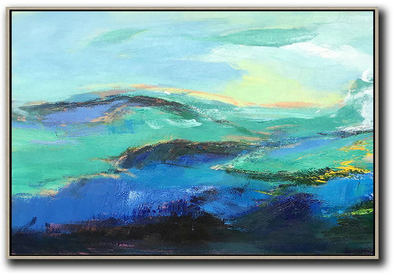 Horizontal Palette Knife Contemporary Art,Large Colorful Wall Art Blue,Black,Light Green
