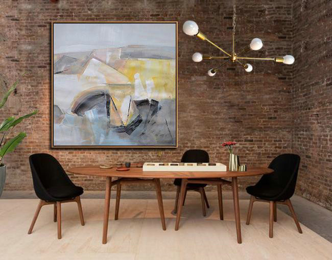 Oversized Palette Knife Painting Contemporary Art On Canvas,Canvas Wall Art Home Decor Gray,Yellow,Blue