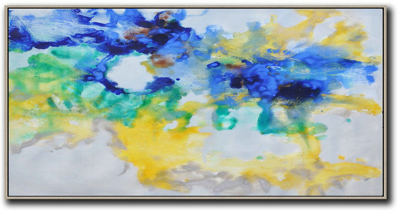 Hand Painted Panoramic Abstract Oil Painting On Canvas,Contemporary Artwork Grey,Yellow,Blue,Green
