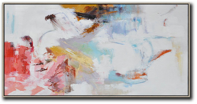 Hand Painted Panoramic Abstract Art On Canvas,Large Living Room Decor White,Grey,Pink,Red,Earthy Yellow