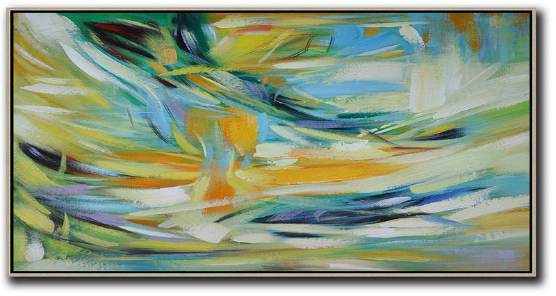 Horizontal Palette Knife Contemporary Art,Abstract Paintings On Sale Yellow,Blue,White,Green