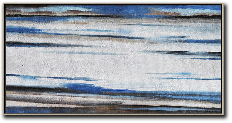 Hand Painted Panoramic Abstract Painting,Original Art Acrylic Painting White,Blue,Brown