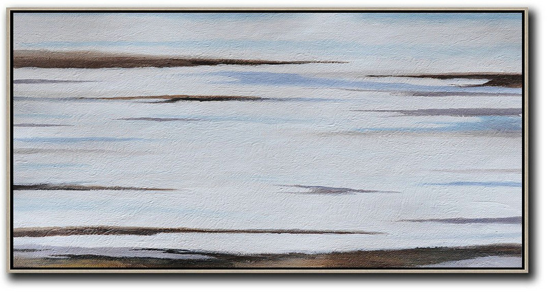 Hand Painted Panoramic Abstract Painting,Acrylic Painting Large Wall Art Grey,White,Brown,Blue