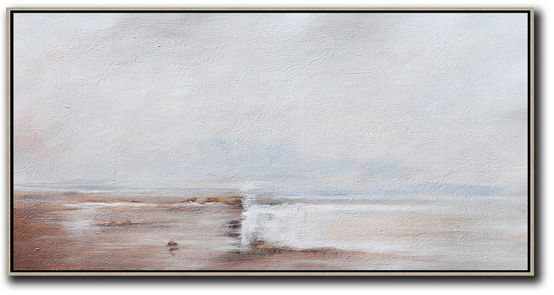 Hand Painted Panoramic Abstract Painting,Large Oil Canvas Art Beige,Grey,White